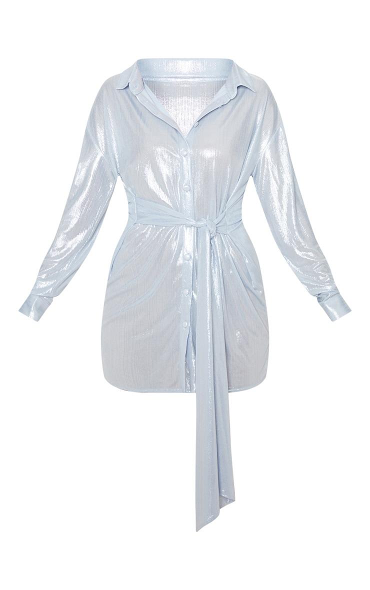 Silver Metallic Button Up Tie Waist Shirt Dress 3