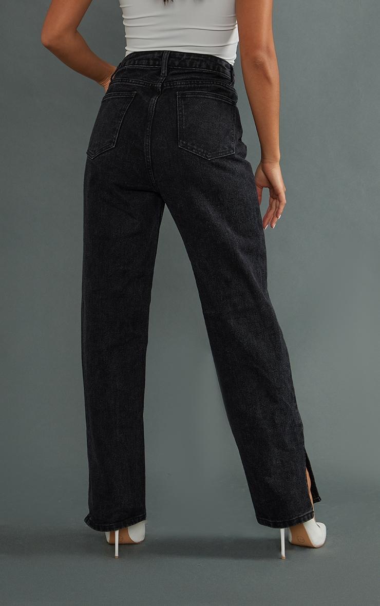 Petite Black Split Hem Jeans 3