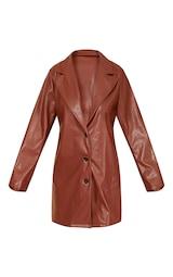 Chocolate Faux Leather Button Down Blazer Dress 5