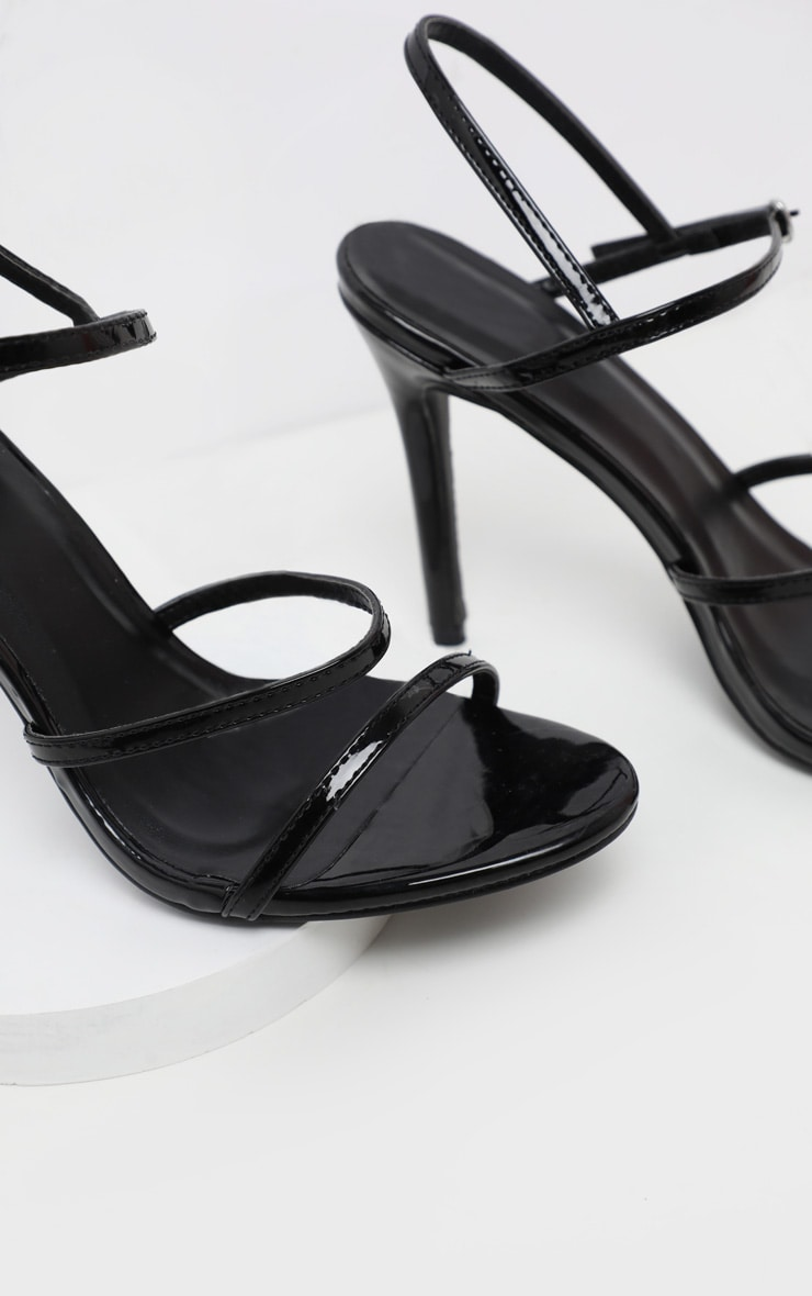 Black Wide Fit Triple Strap Slingback Barely There Sandal 4