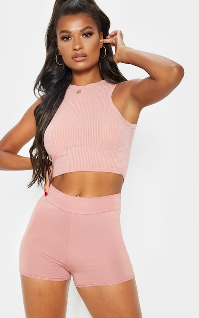 Dusty Rose Basic High Waisted Shorts