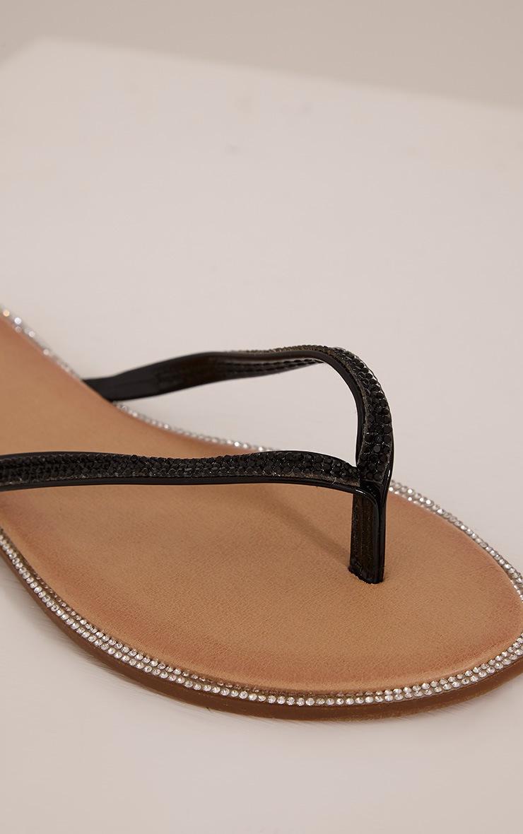 Ashlea Black Diamante Flip Flops 8