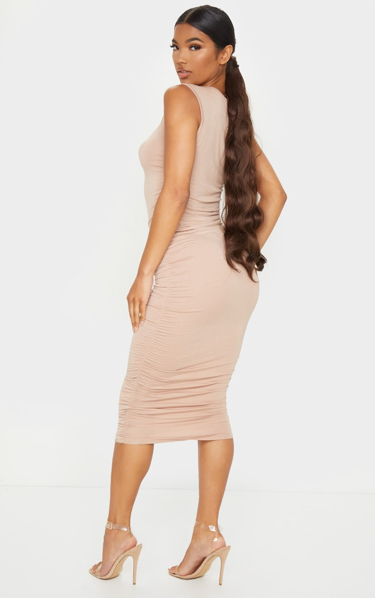 Stone Sleeveless Crew Neck Ruched Side Midi Dress 2
