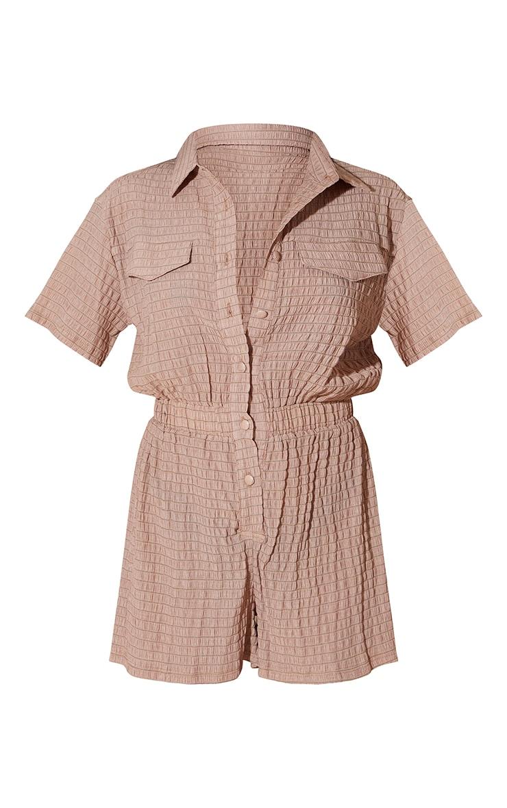 Chocolate Crinkle Stripe Short Sleeve Shirt Romper 5