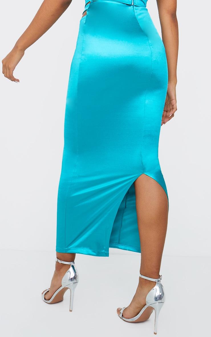 Aqua Stretch Satin Cut Out Hip Split Back Midaxi Skirt 3