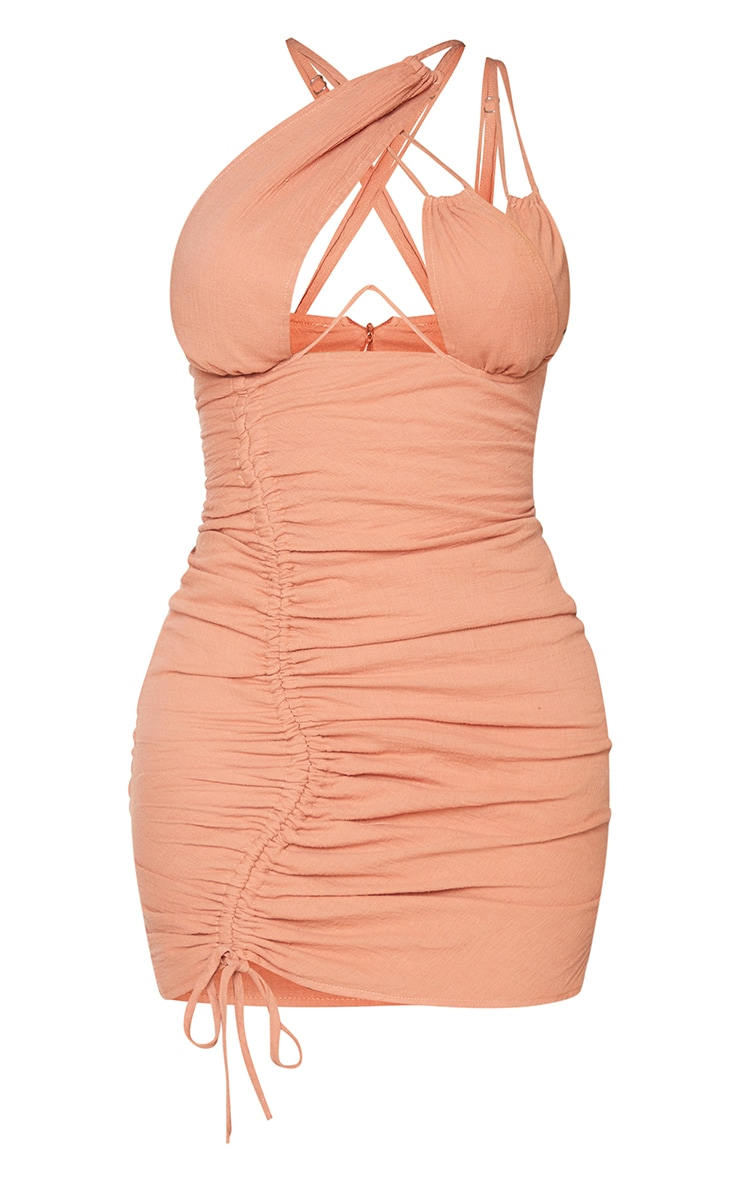 Shape Rust Woven Cup Detail Ruched Side Bodycon Dress 5