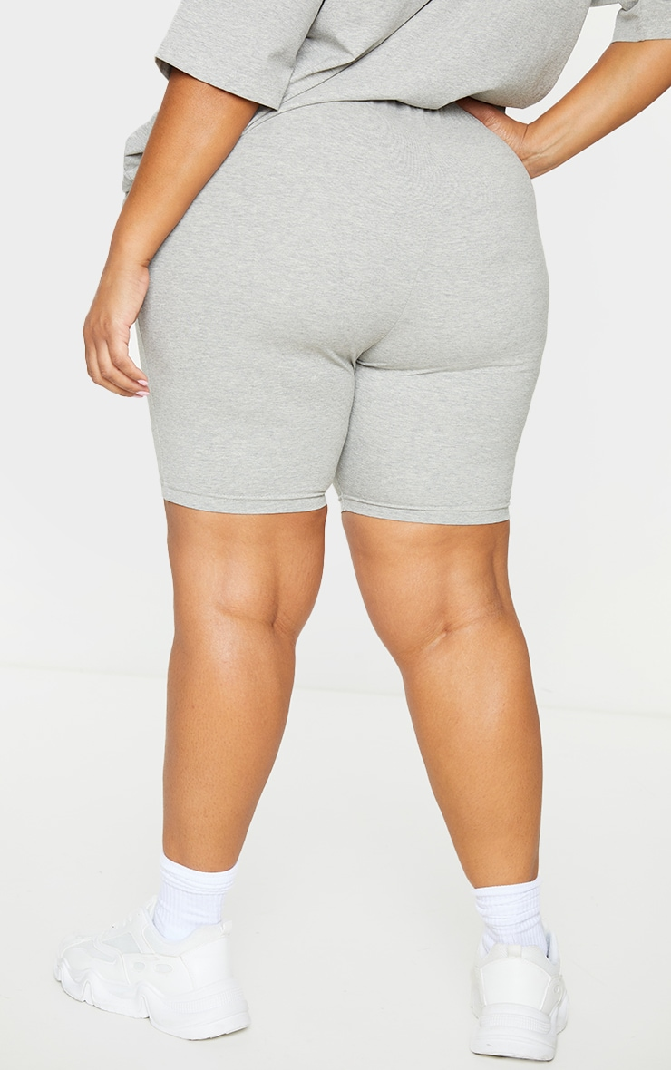 Plus Grey Embroidered Oversized Bike Shorts 3