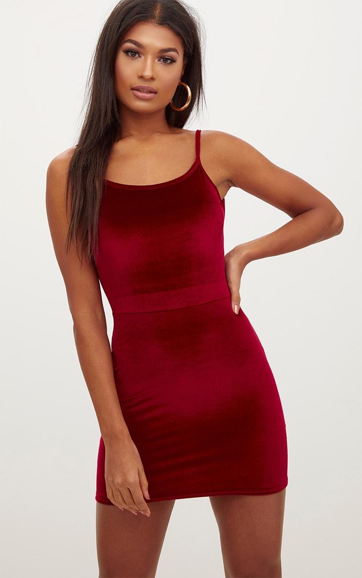 Burgundy Velvet Scoop Back Bodycon Dress 1