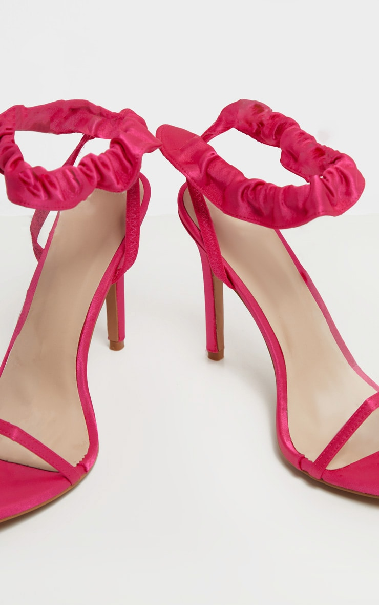Fuchsia Satin Ruched Ankle Strap Heeled Sandal 3