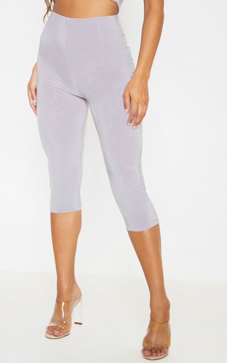 Light Grey Second Skin Slinky Cropped Legging  2