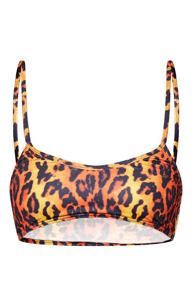 Orange Leopard Print Scoop Neck Bikini Top 3