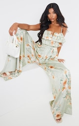 Sage Green Floral Strappy Ruffle Wide Leg Jumpsuit 1