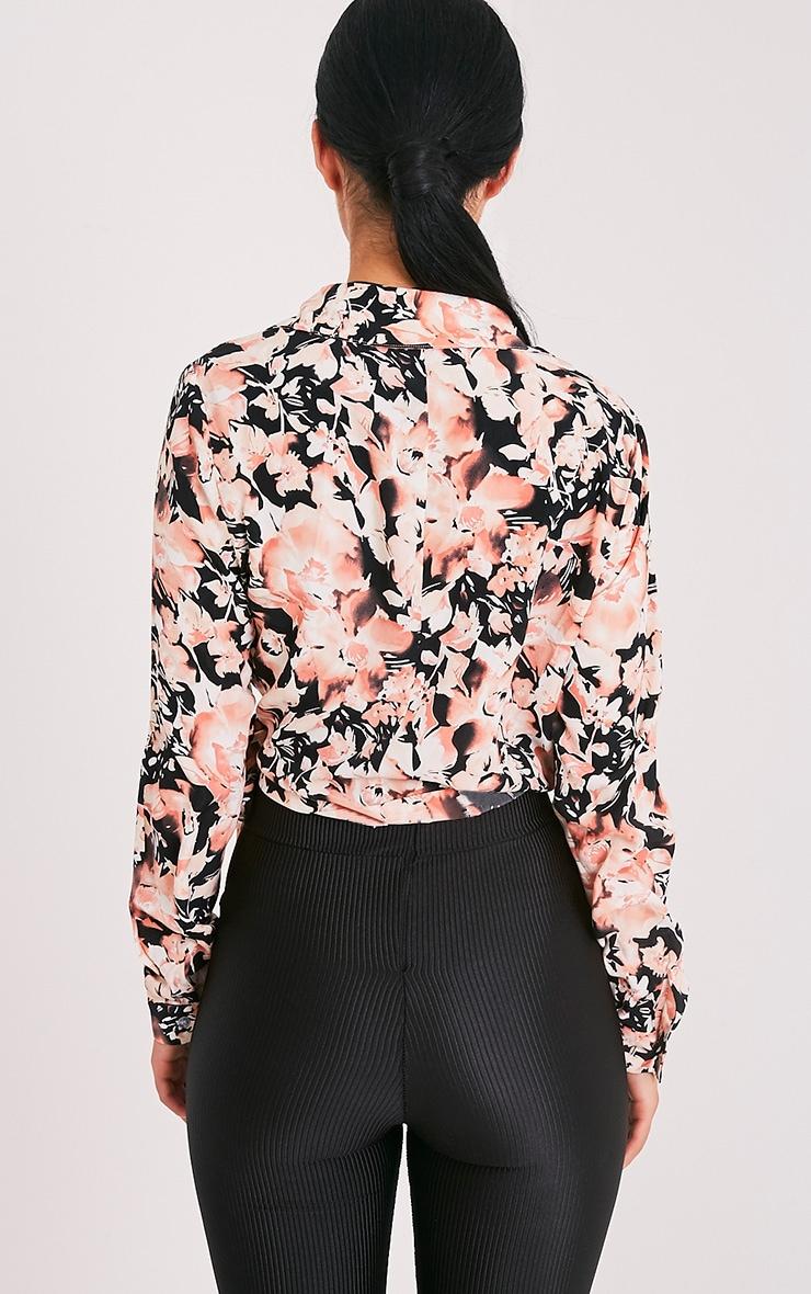 Avalyn chemisier cache-cœur rose à nœud sur le devant et imprimés floraux 2