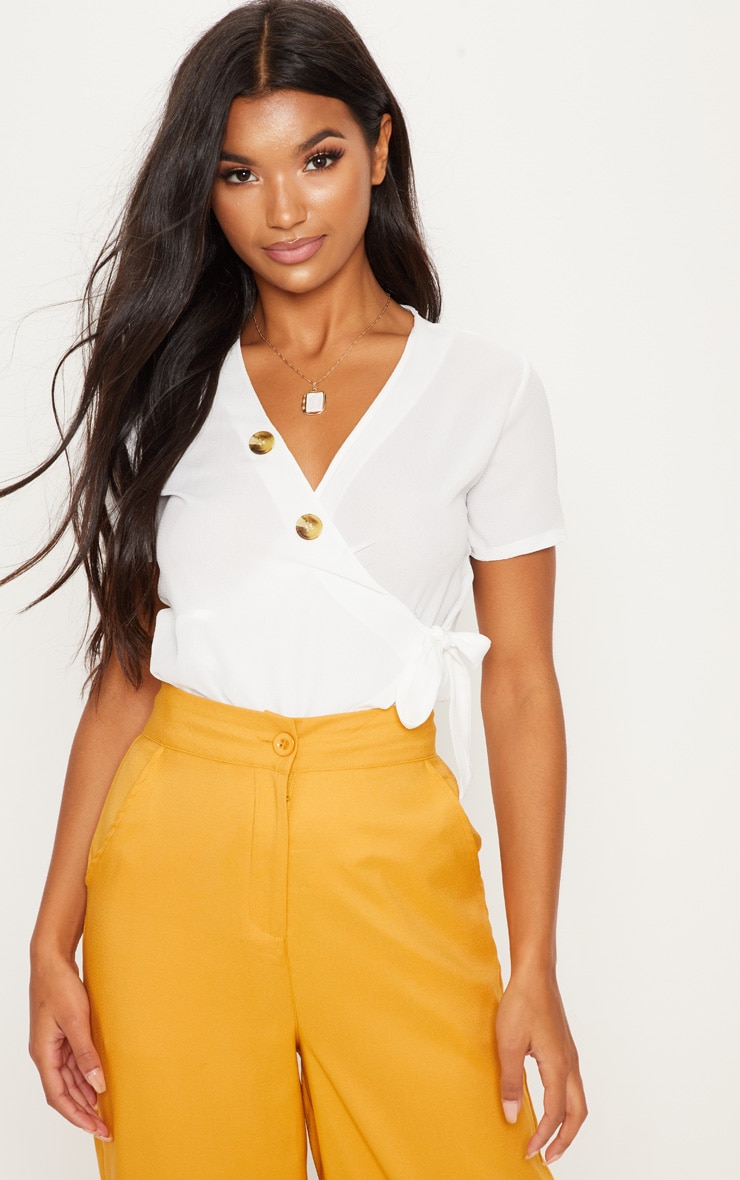 White Wrap Front Button Shirt