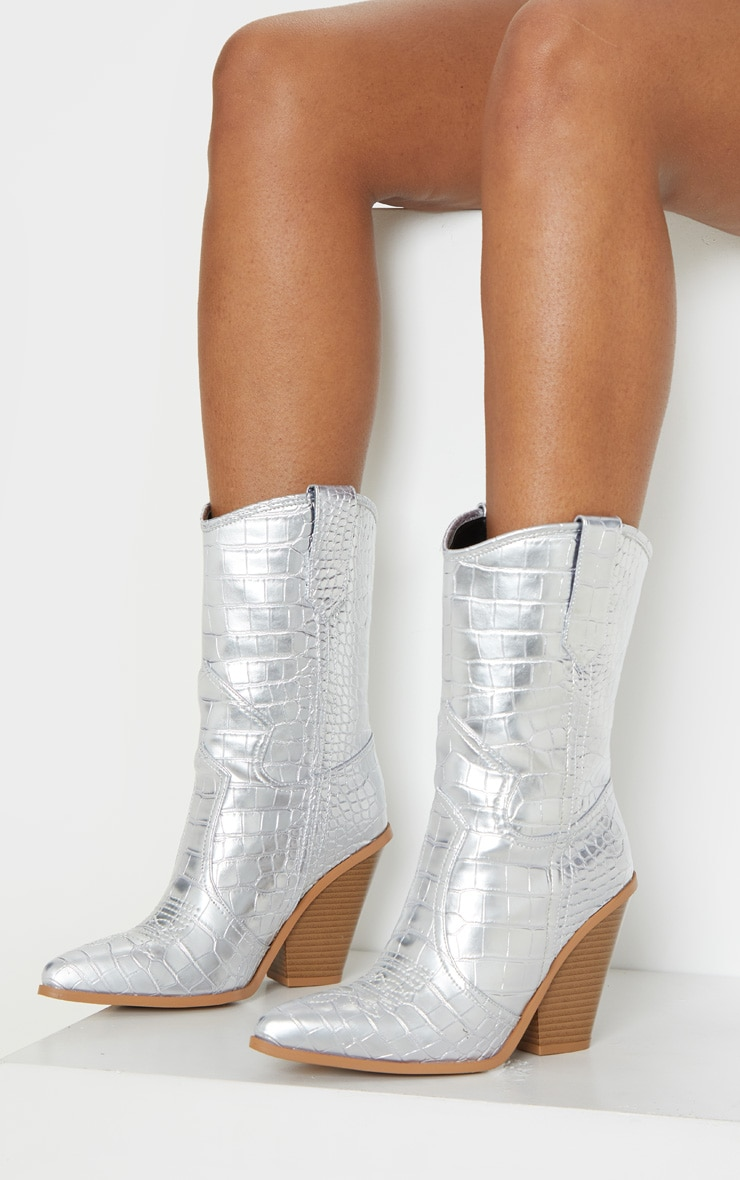 Silver Heeled Western Boot 2