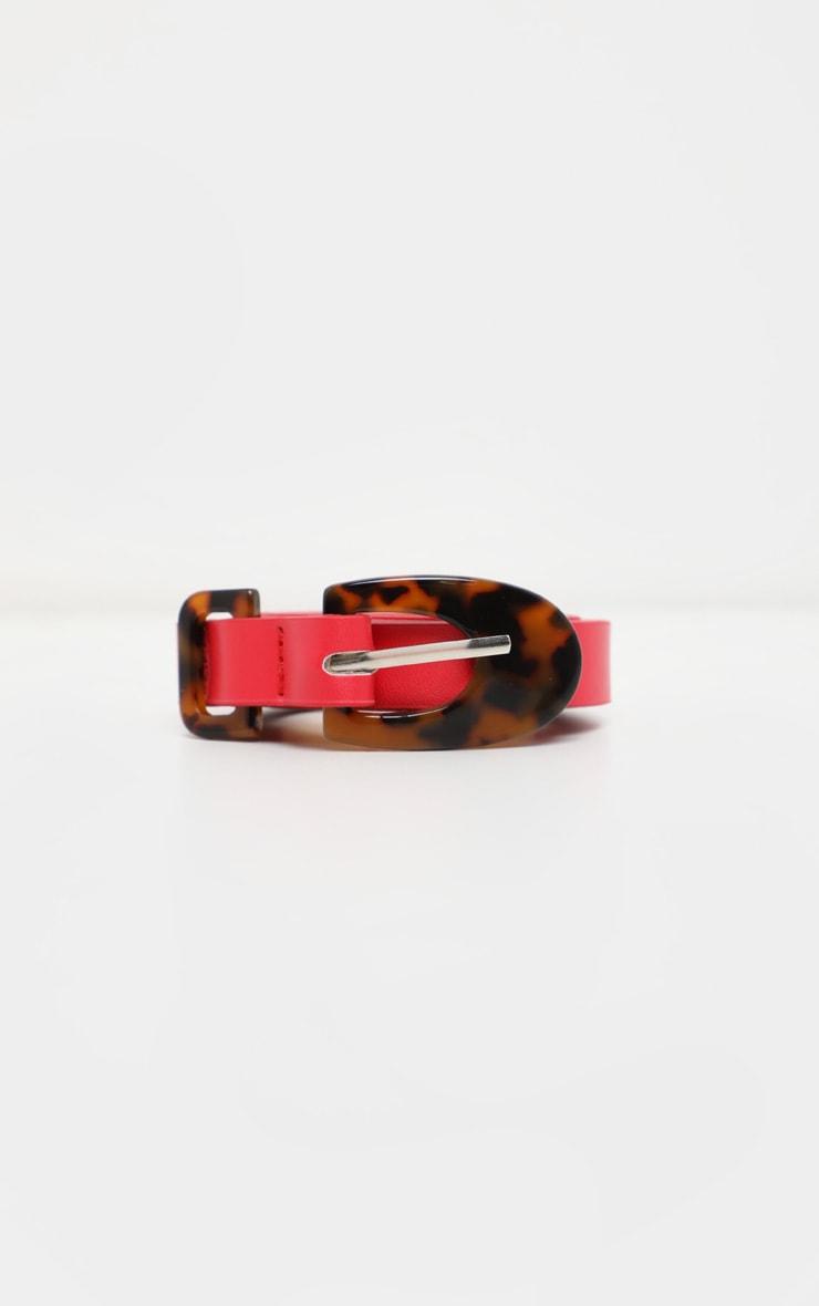 Red Tortoiseshell Buckle Skinny Belt 2