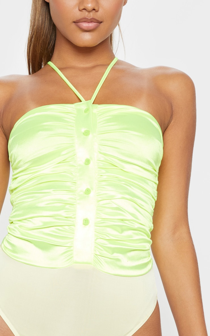 Neon Lime Satin Ruched Button Front Sleeveless Bodysuit 6