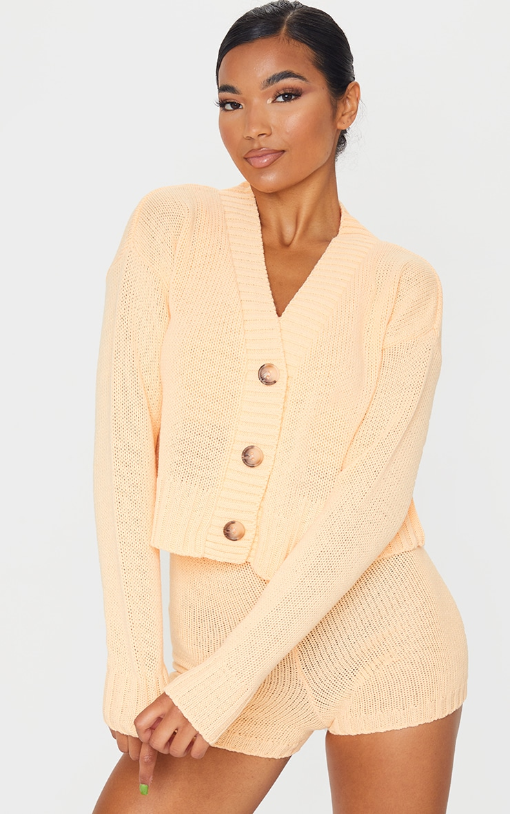 Peach Knitted Button Crop Cardigan 1