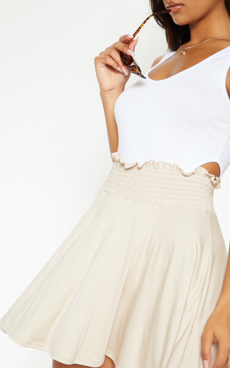 Stone Shirred Waistband Skater Skirt  6