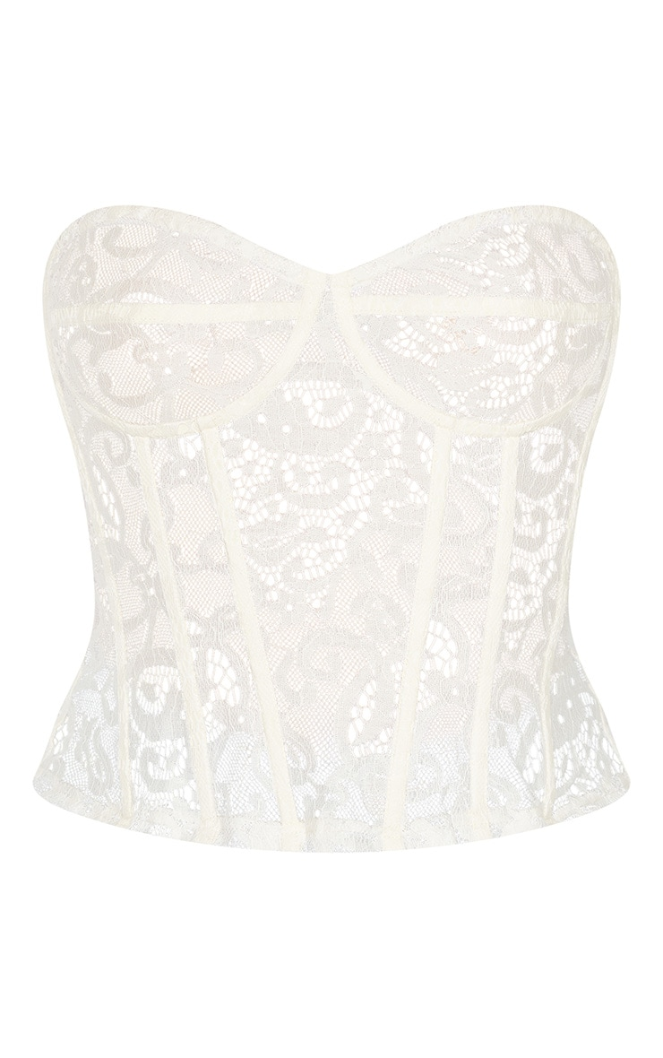 White Sheer Lace Structured Corset Top 3