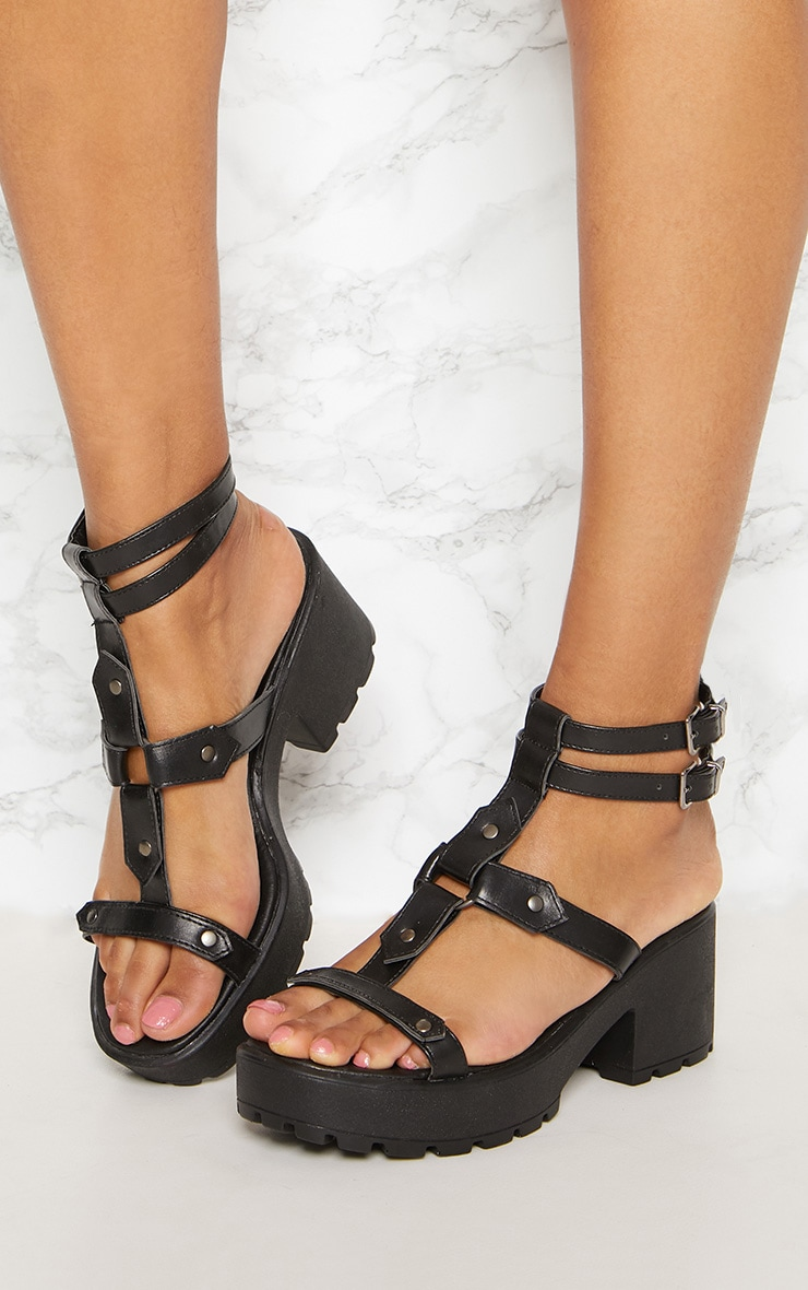 Black Ring Detail Gladiator Chunky Sandal 2