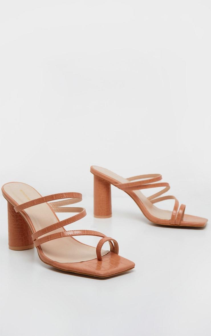 Nude Round Block Heel Mule Strappy Sandal 3