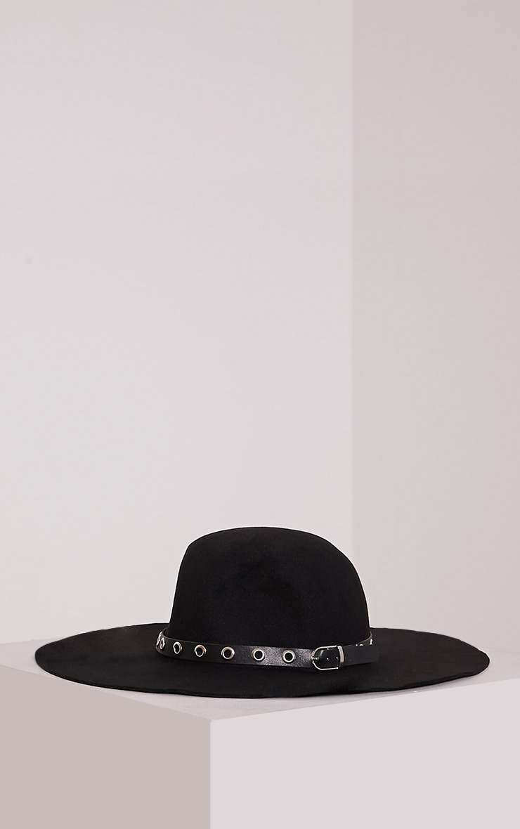 Leelah Black Eyelet Trim Floppy Hat 3
