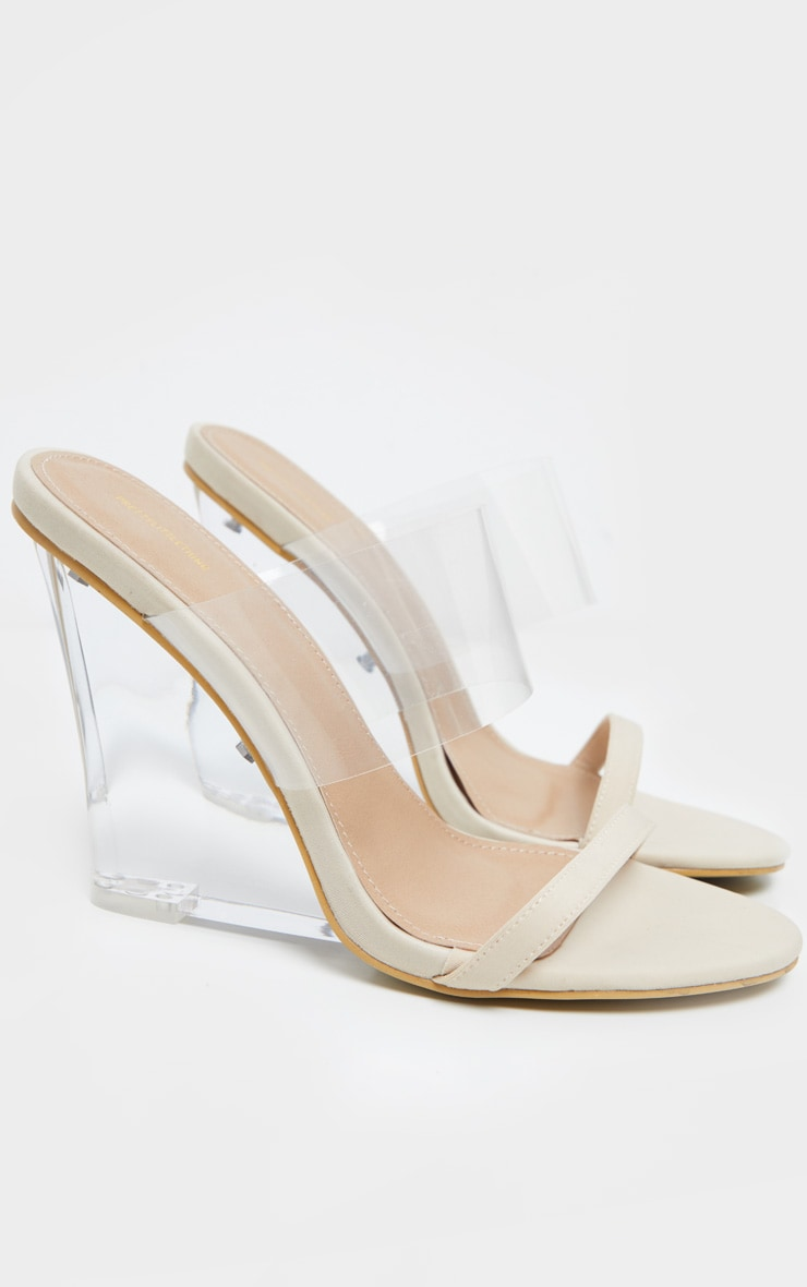 Nude Clear Wedge Mule Sandal 3