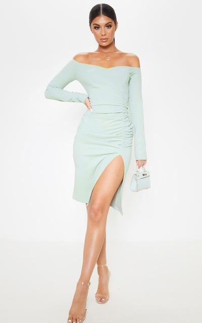 Sage Khaki Bardot Ruched Side Seam Midi Dress