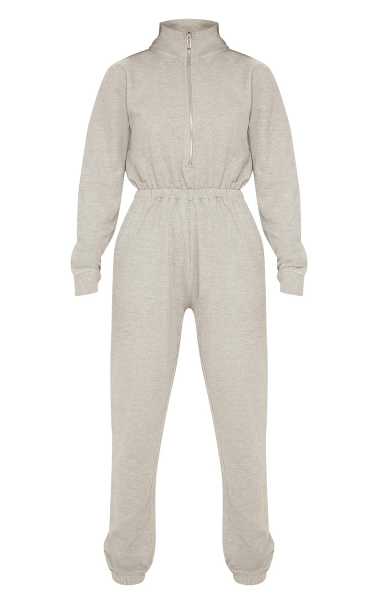 Grey Funnel Neck Zip Up Loop Back Jumpsuit 3