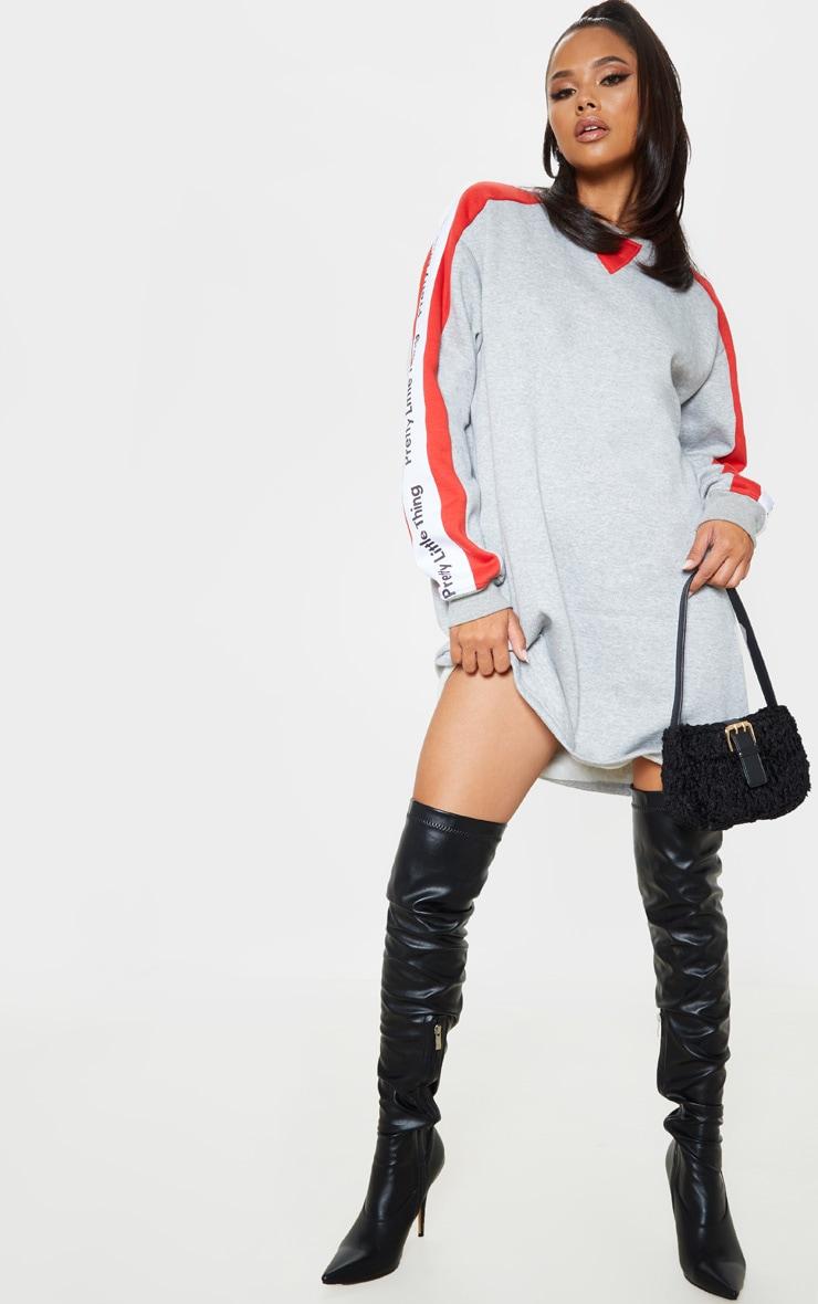 PRETTYLITTLETHING Grey Slogan Contrast Sweater Jumper Dress  4
