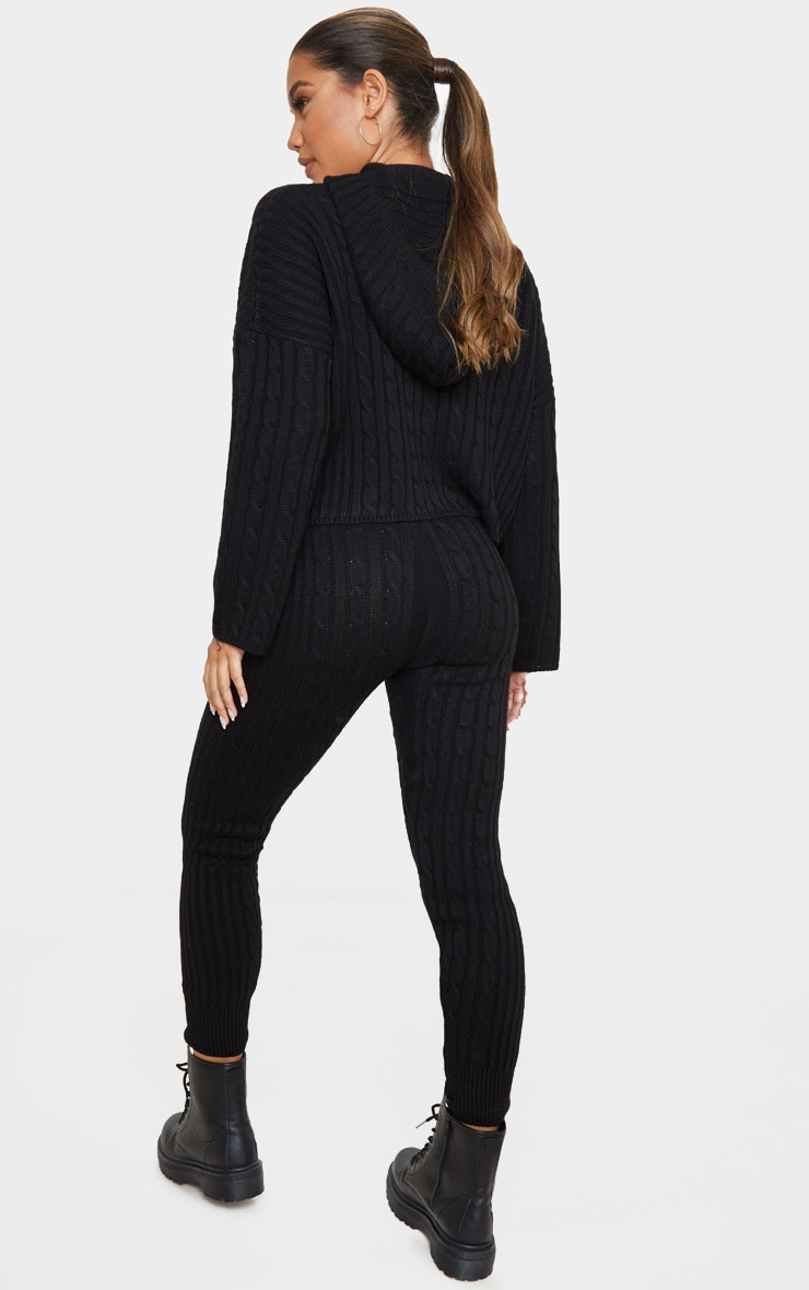Black Cable Knitted Hooded Lounge Set 2
