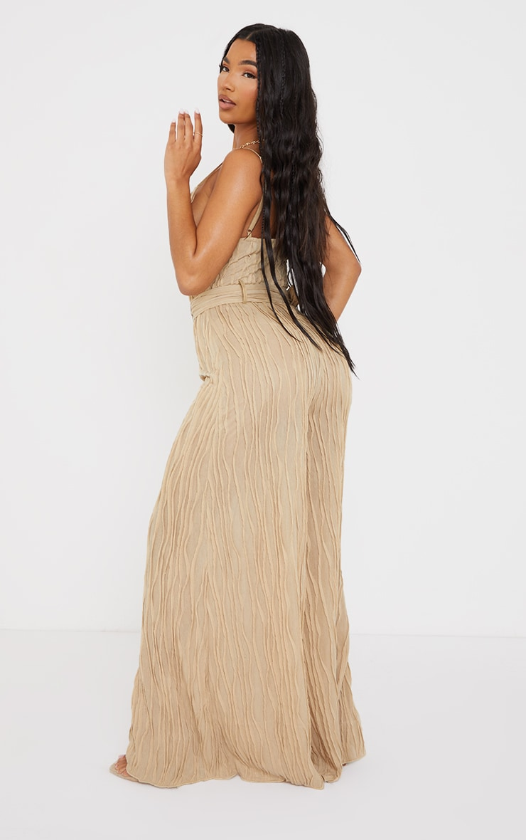 Stone Sheer Textured Cowl Neck Belted Wide Leg Jumpsuit 2