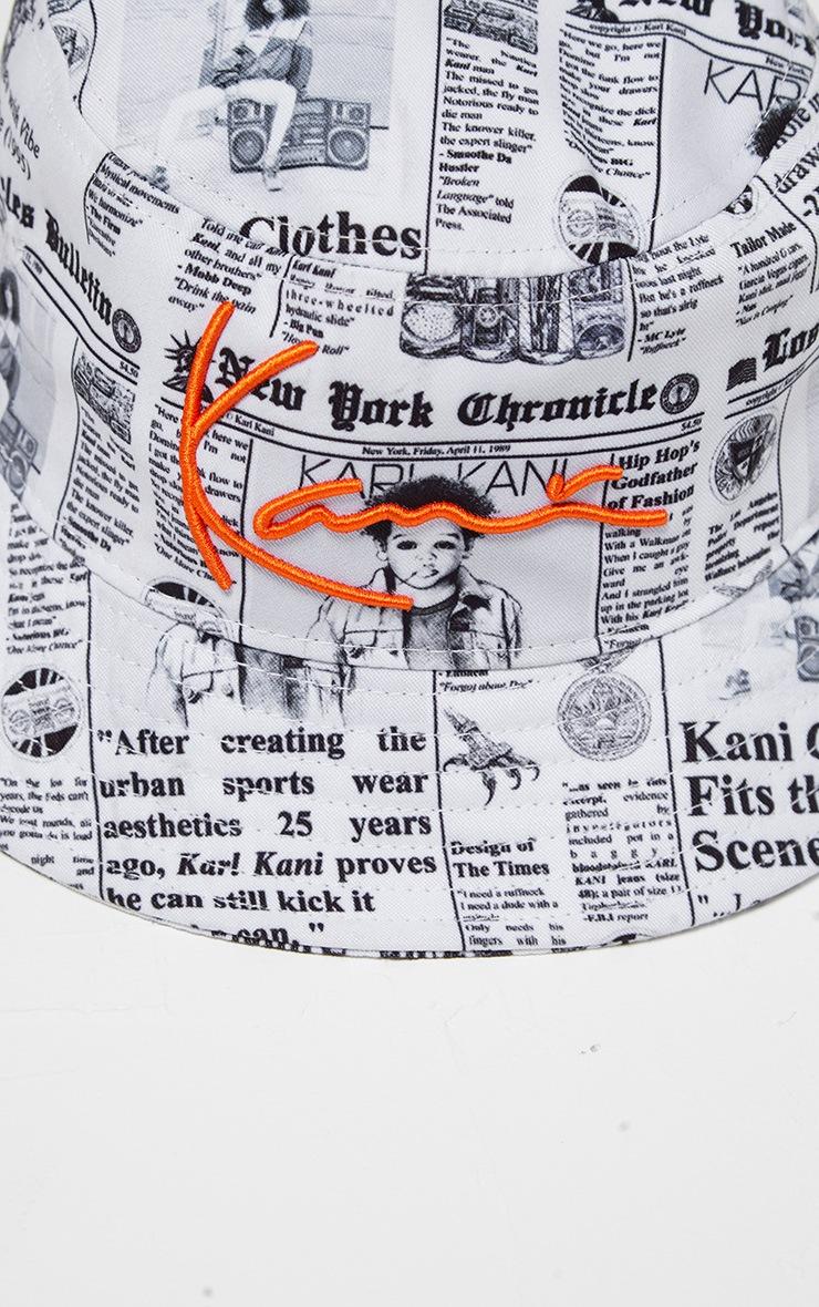 KARL KANI White Newspaper Print Bucket Hat 5