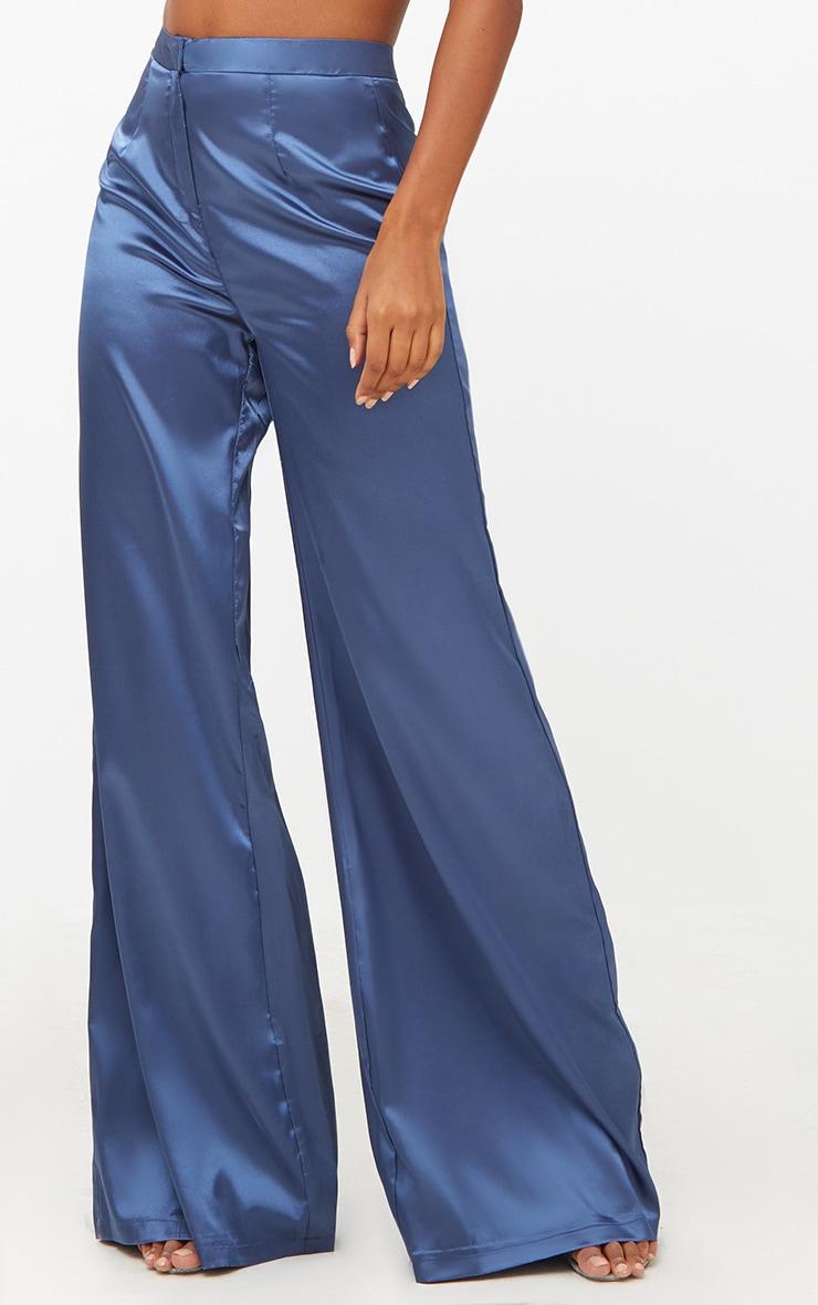 Blue Satin Wide Leg Trousers 5