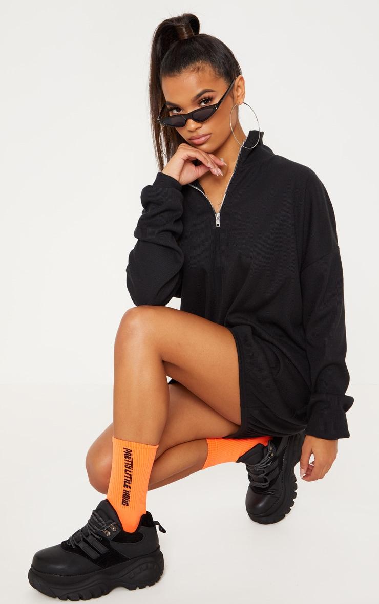 Black Rib Zip Front Elasticated Hem Jumper Dress 1