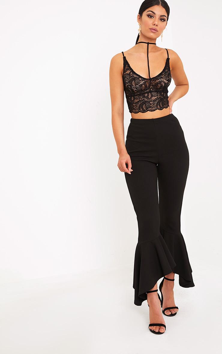 Indya Black Sheer Lace Choker Strap Crop Top 4