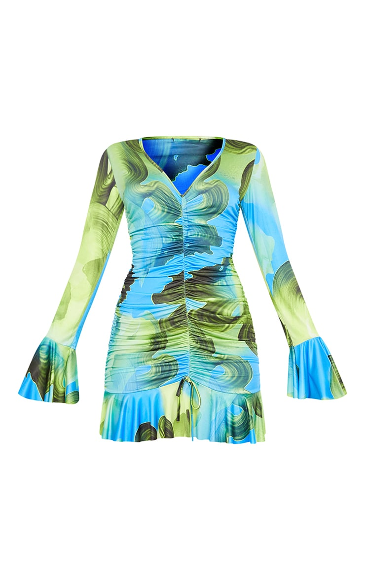 Green Abstract Print Slinky Ruched Front Flare Sleeve Bodycon Dress 5