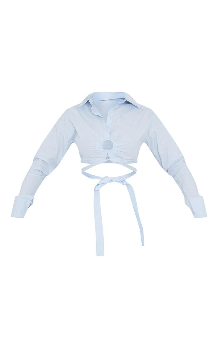Light Blue Woven O Ring Cropped Shirt 5