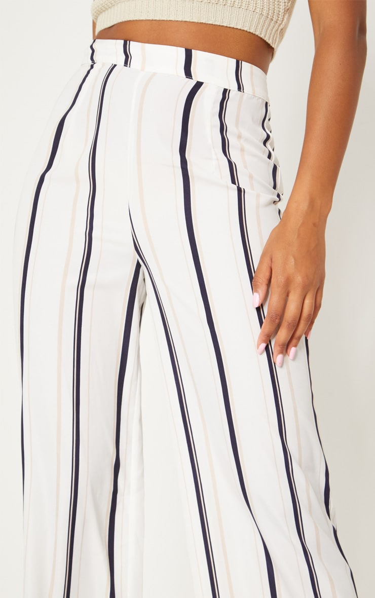 White Striped Wide Leg Trouser 5