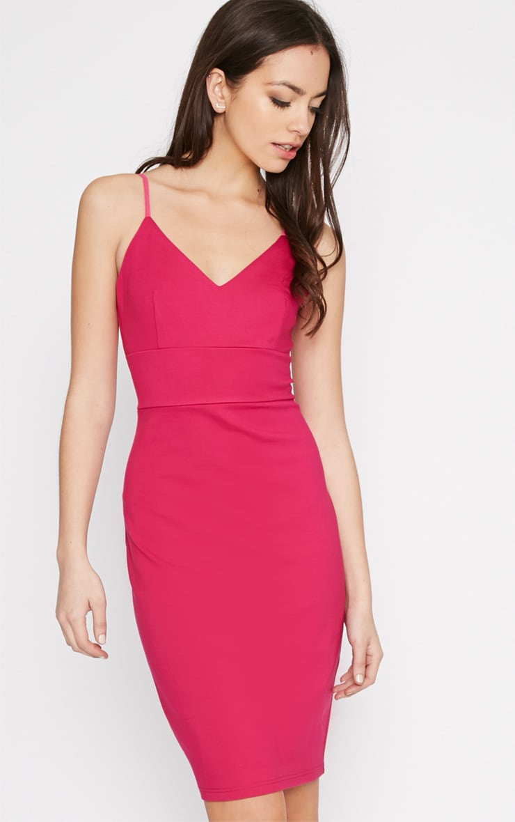 Zoey Hot Pink Strappy Bodycon Dress 1
