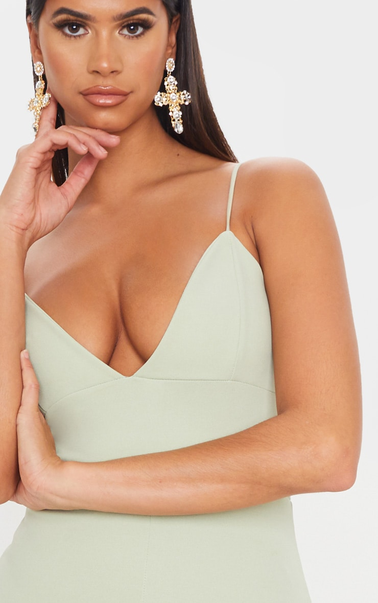 Sage Green Strappy Plunge Midi Dress 5