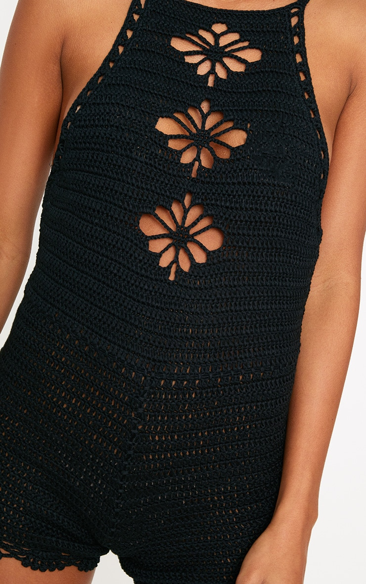Black Crochet Playsuit 5