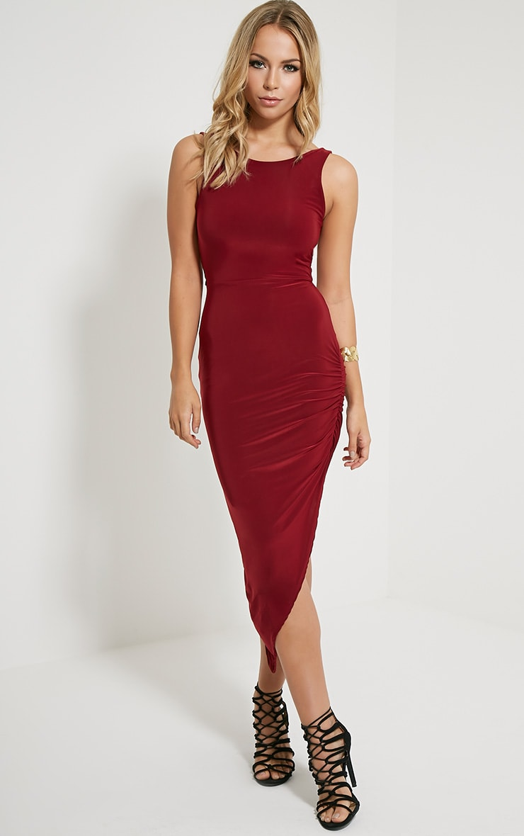 Carmen Burgundy Cross Back Ruched Side Midi Dress 4
