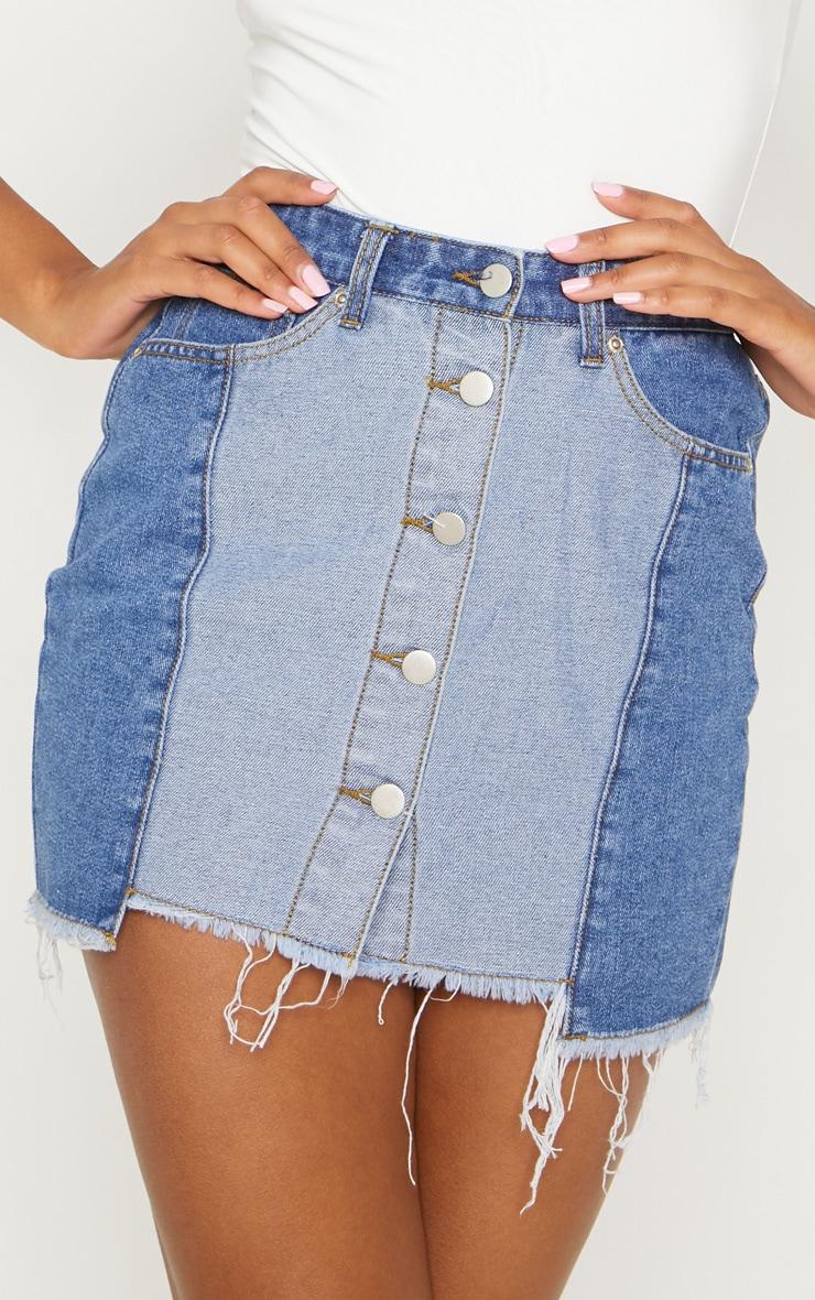 Mid Wash Two Tone Button Through Denim Skirt  6
