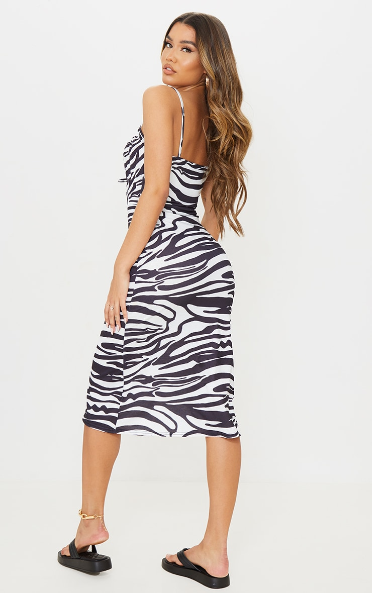 Black Zebra Print Tie Bust Strappy Midi Dress 1