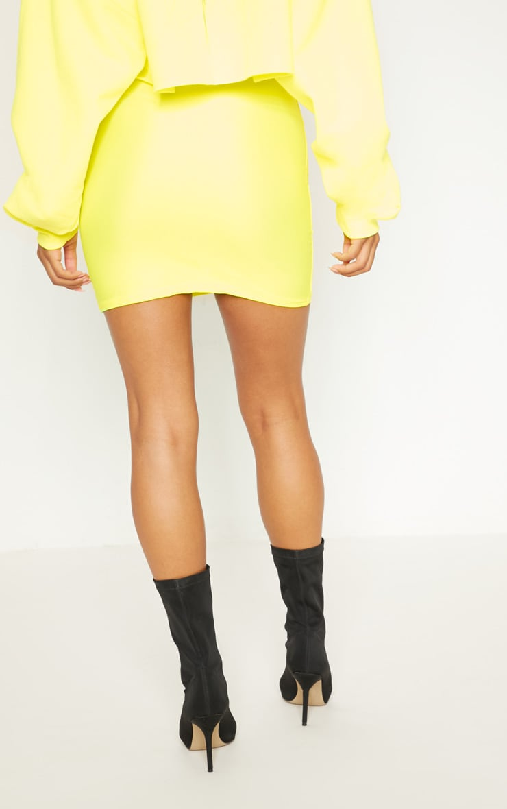Neon Yellow Disco Mini Skirt 4