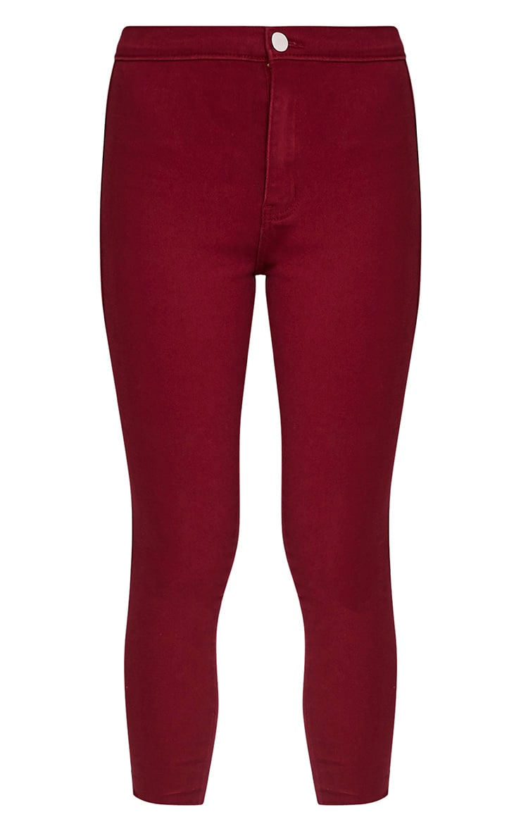 Dark Red High Waisted Skinny Jean 3