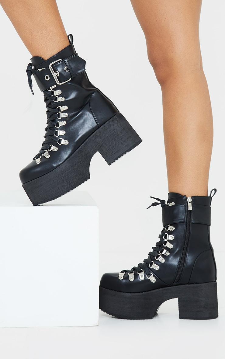 Black Buckle Lace Up Detail Eyelet Platform Heeled Boots 1