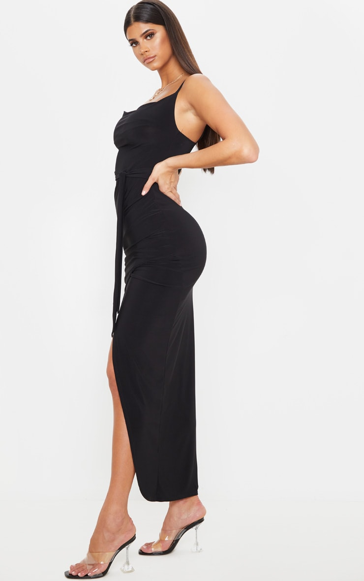 Black Cowl Neck Tie Waist Maxi Dress 4